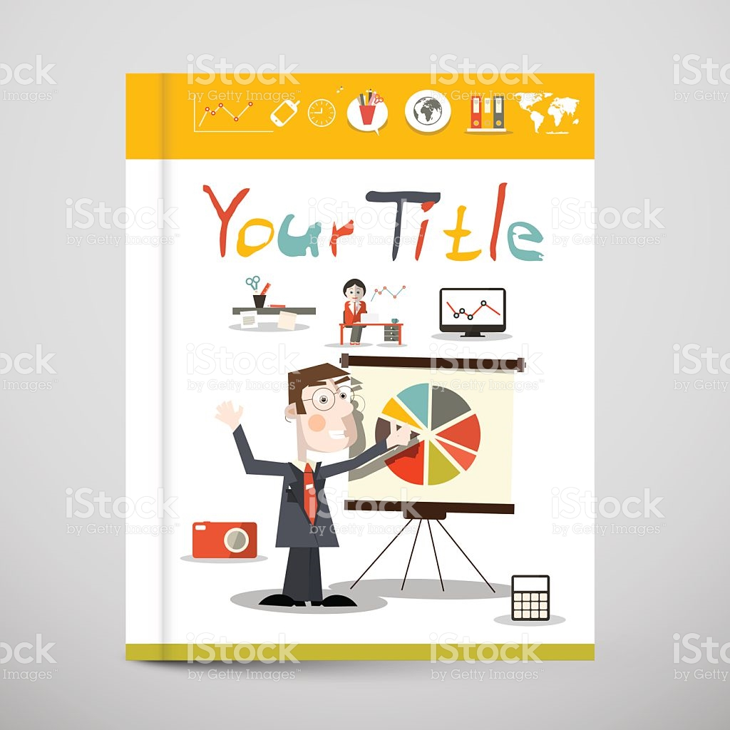 Funky Brochure Business Book Vector Cover Design stock vector art.