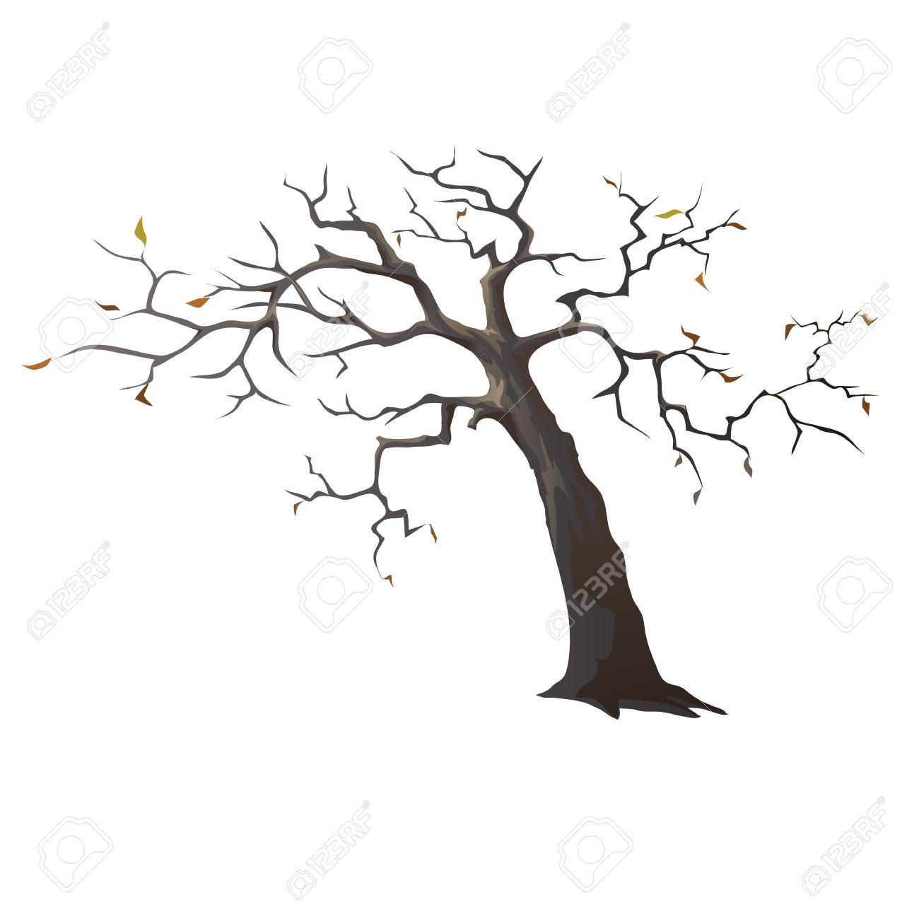 Lonely Dead Tree With Sparse Leaves, Vector Illustration Royalty.