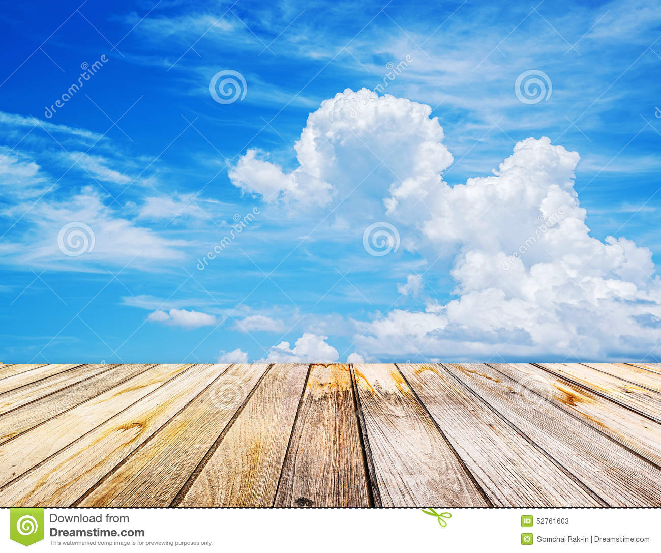 Perspective View To Sparse White Clouds In The Blue Sky Stock.