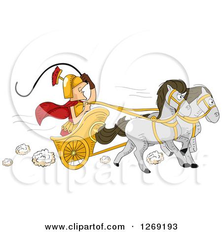 Clipart of a Roman Man Driving a Horse Drawn Chariot Cart.