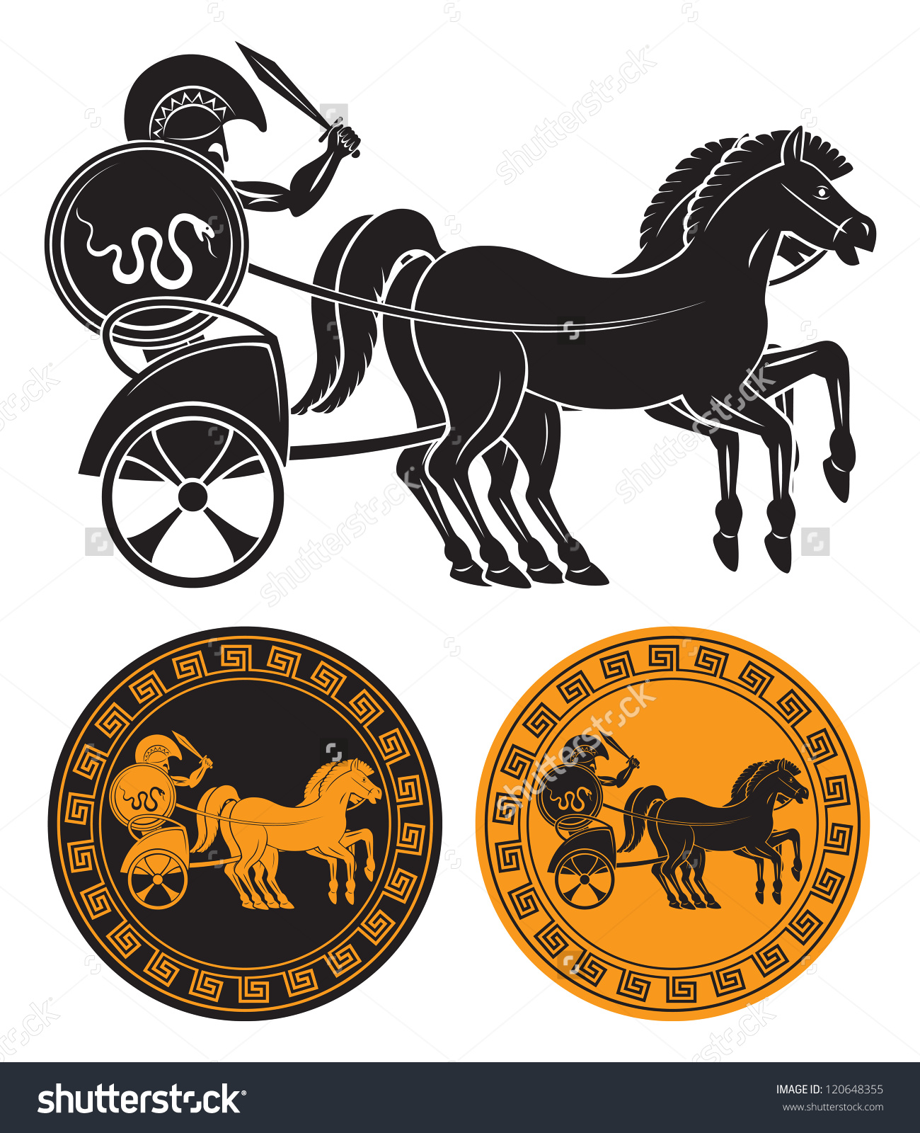 Figure Shows Chariot Gladiator Stock Vector 120648355.