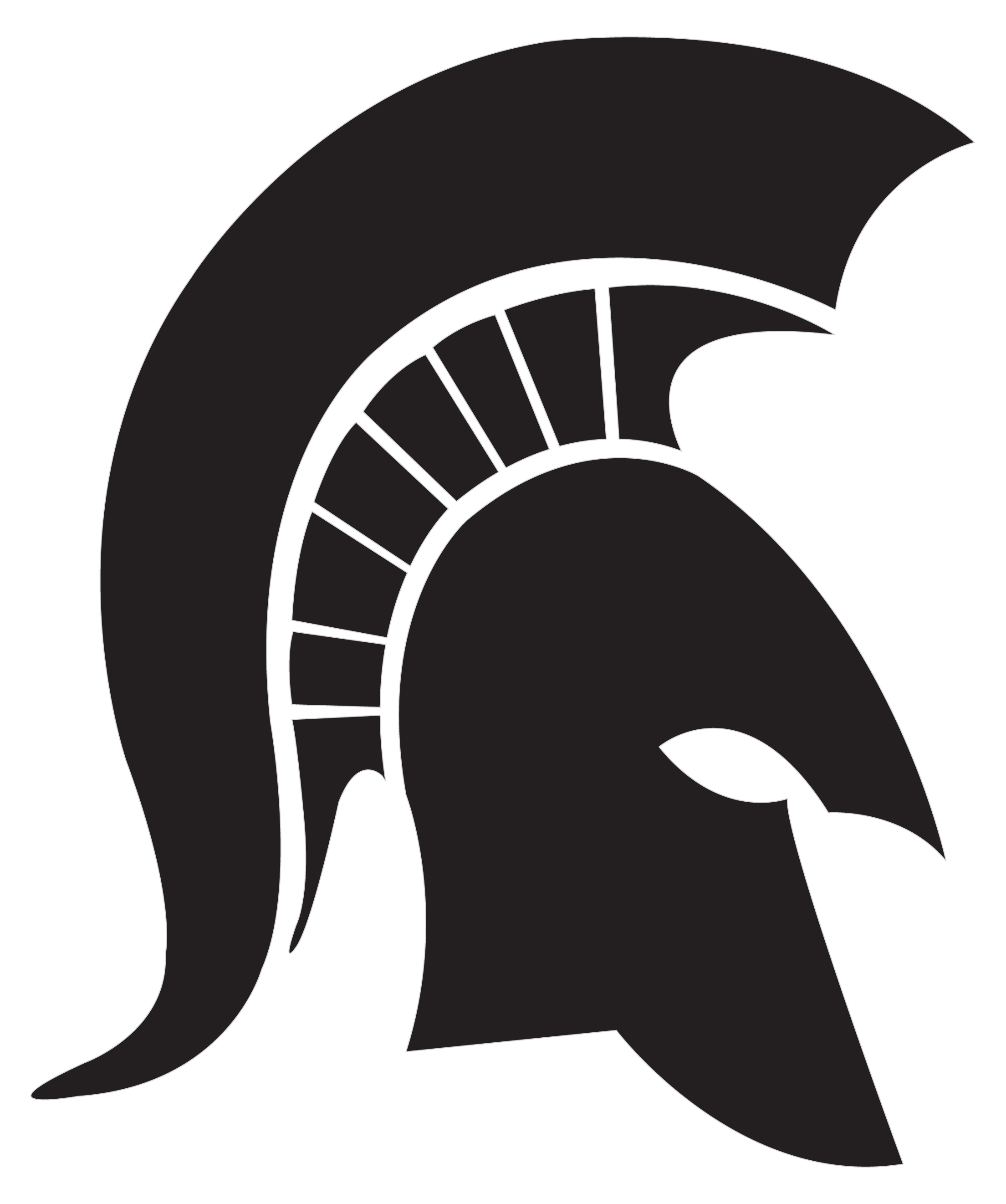 Clipart of the Black Spartan Helmet Logo free image.