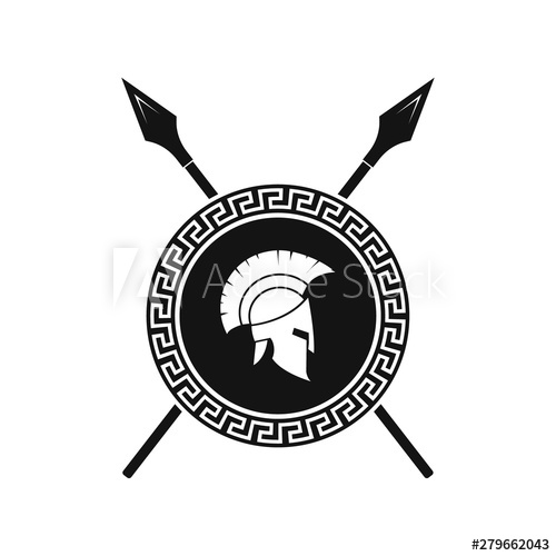 Spartan shield and helmet logo. Vector..