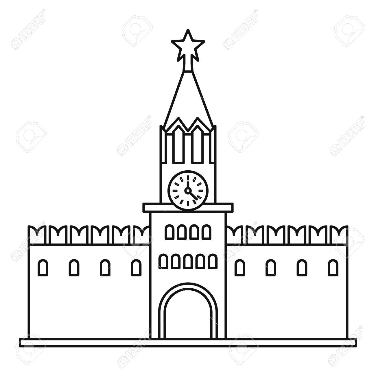 Spasskaya Tower Of Moscow Kremlin Icon. Outline Illustration.