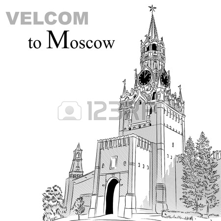 Black And White Sketch Of The Spasskaya Tower Of The Moscow.