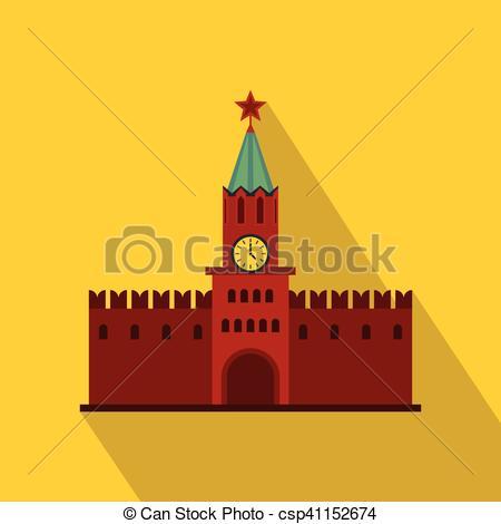 Vectors Illustration of Spasskaya Tower of Moscow Kremlin icon.