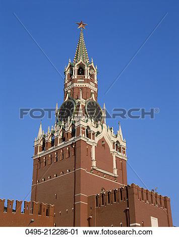Stock Photography of Russia, Moscow, Kremlin, Saviour Tower.