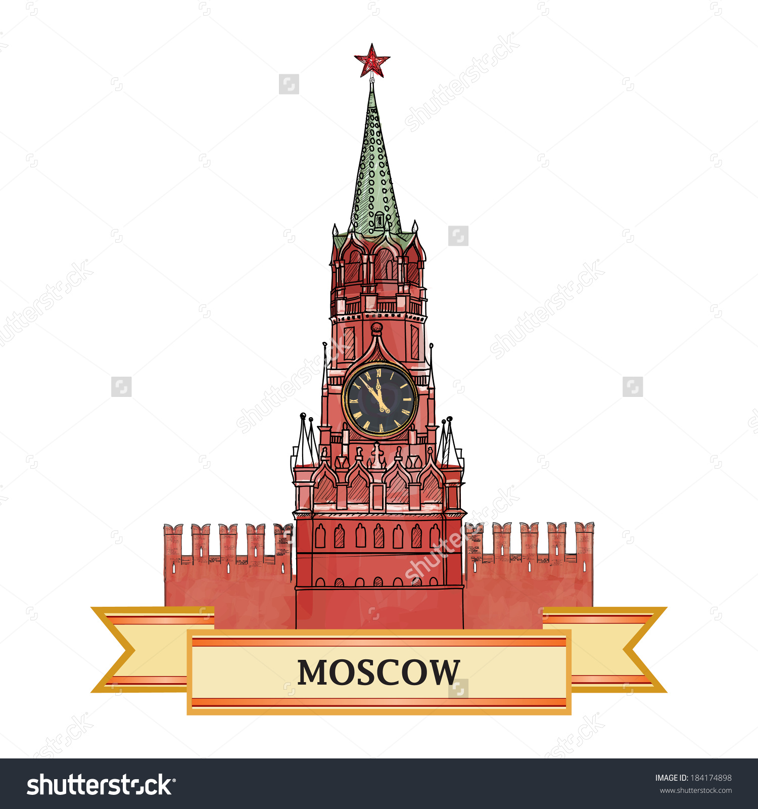 Moscow City Symbol Spasskaya Tower Red Stock Vector 184174898.