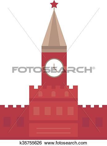 Clip Art of Spasskaya tower in Moscow, Russia flat design Kremlin.