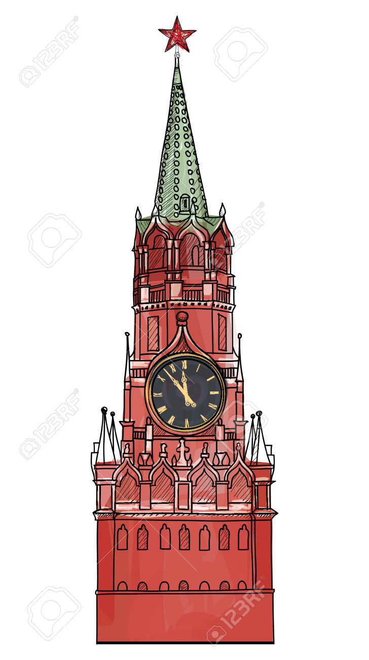 Moscow City Symbol Spasskaya Tower, Red Square, Kremlin, Moscow.