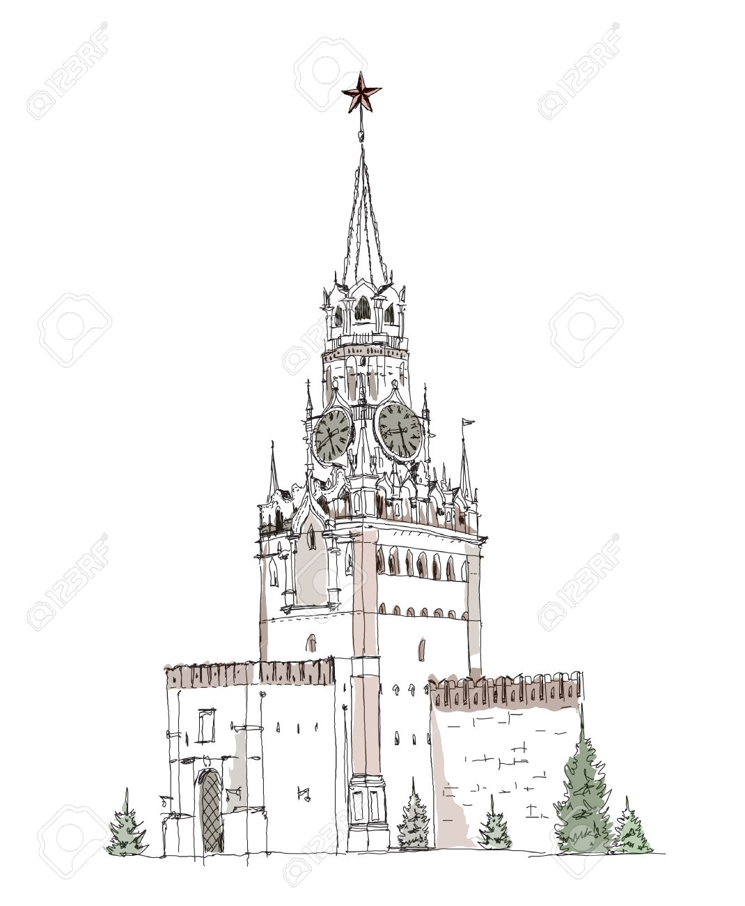 Moscow, Sketch Collection, Spasskaya Tower On The Red Square.