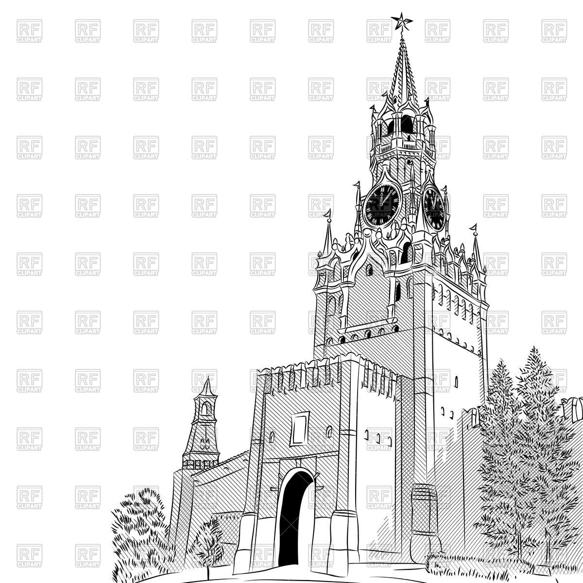 Spasskaya Tower of the Moscow Kremlin Vector Image #45154.