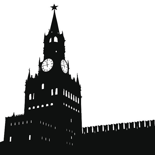 Silhouette Of Spasskaya Tower Clip Art, Vector Images.