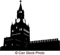Vector Clipart of kremlin tower with clock in moscow, russia.