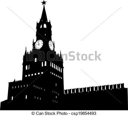 Spasskaya tower moscow kremlin Vector Clipart Illustrations. 75.