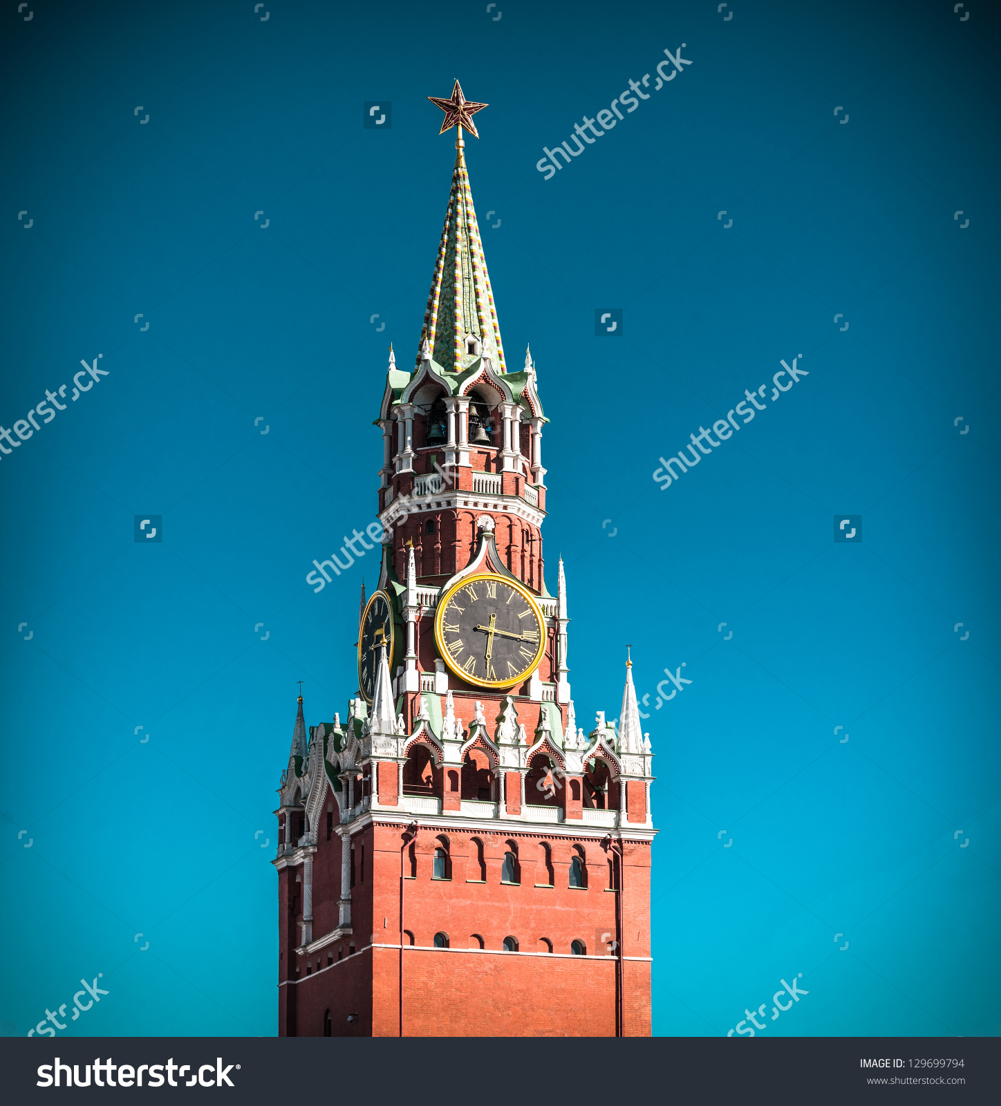 Spasskaya Tower Of Kremlin With Clock And Red Star. Beautiful Old.