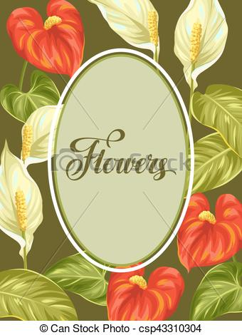 Vector Clipart of Decorative frame with flowers spathiphyllum and.