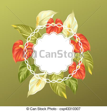 Vector Clipart of Decorative card with flowers spathiphyllum and.