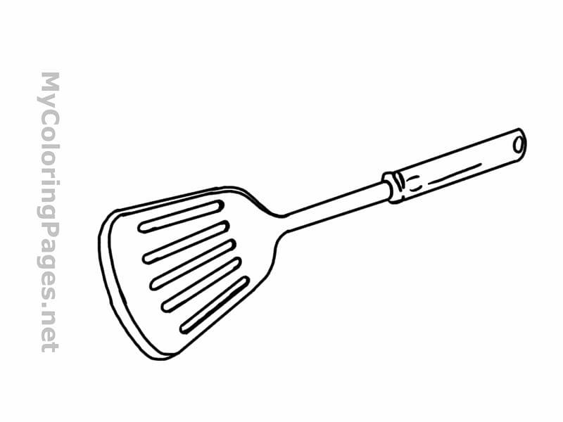 Barbecue grill Spatula Kitchen utensil Coloring book.