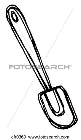 Drawing of A black and white illustration of a rubber spatula.