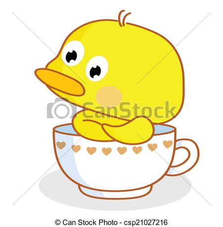 Vector Clip Art of cartoon chicks pose in the cup.