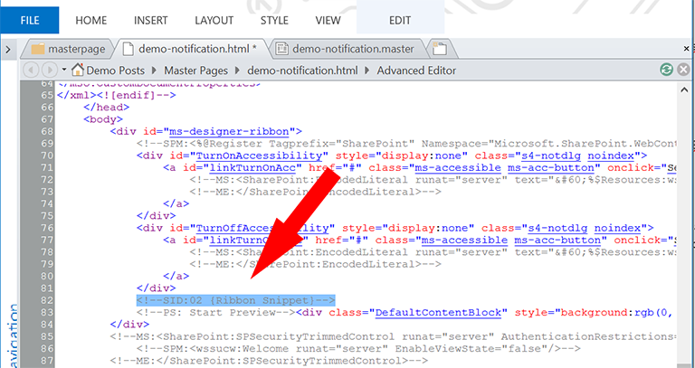Move the SharePoint 2013 Notification and Status Bar in HTML.