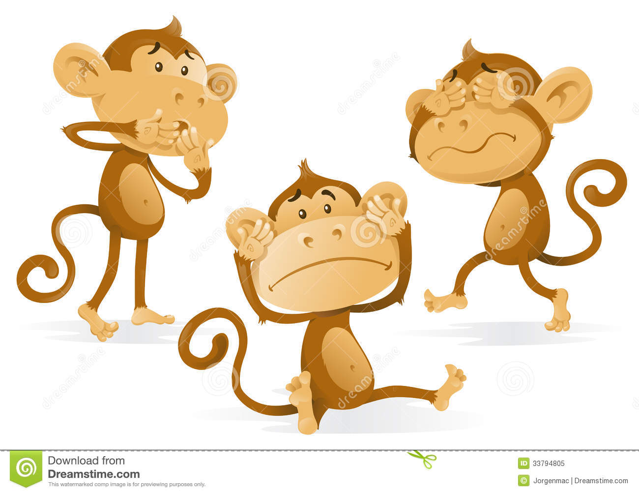 Hear no evil see no evil speak no evil monkeys clipart.