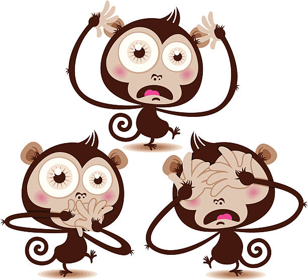 Monkey Speak No Evil Silhouettes Clip Art, Vector Images.
