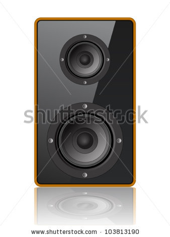 of a speaker in a speaker cabinet in a vector clip art illustration.