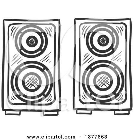 Speakers clipart black and white, Speakers black and white.