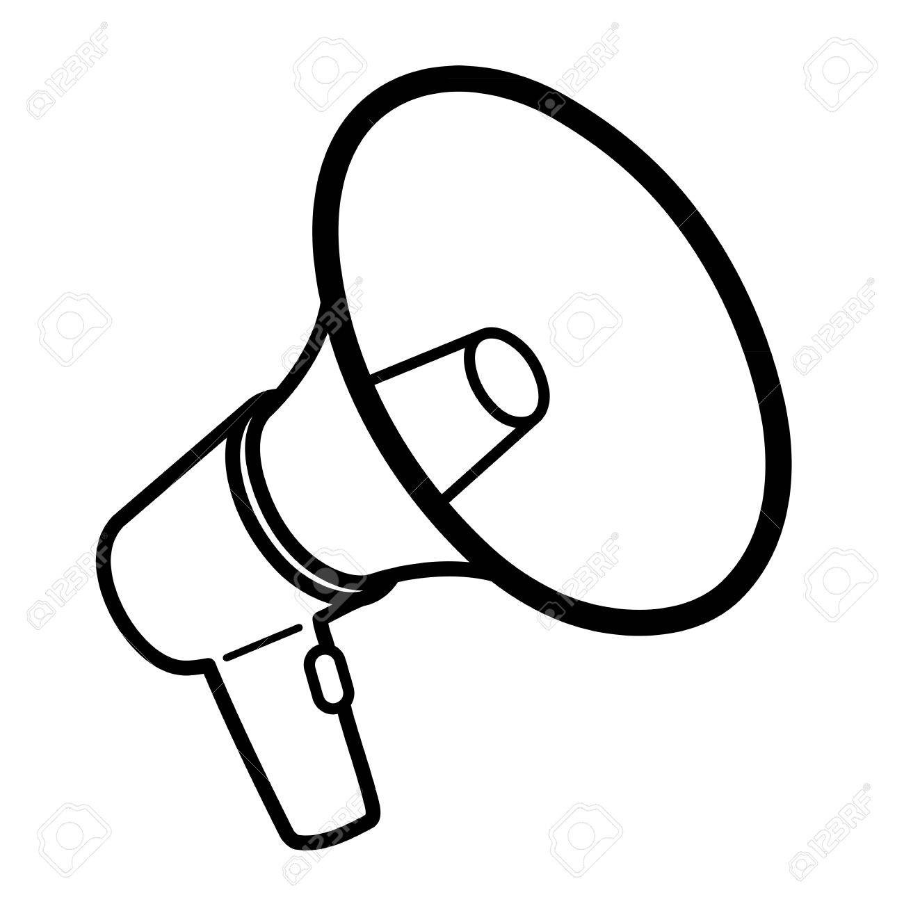 61954752 Black Outline Megaphone Or Bullhorn For Amplifying.