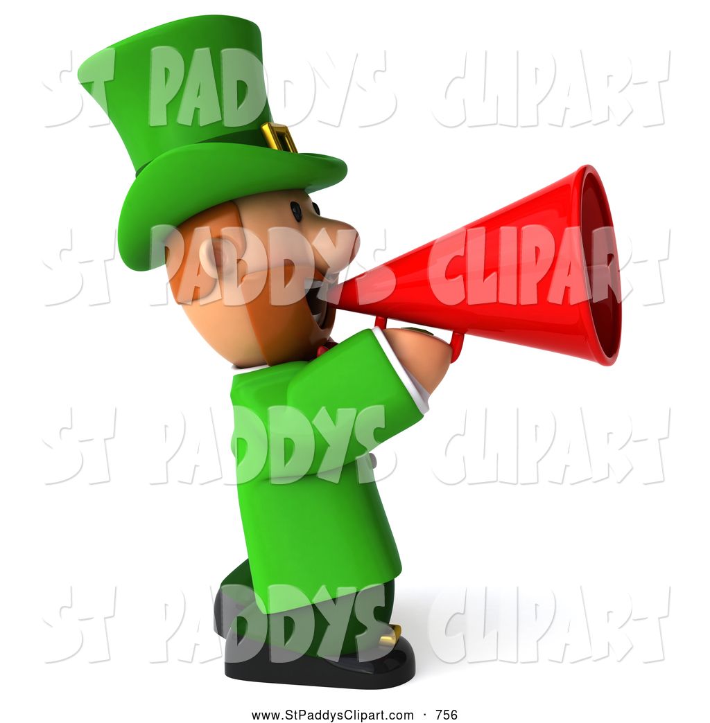 Royalty Free Speaking Trumpet Stock St. Paddy&s Day Designs.