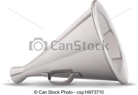 Vector Clip Art of Retro metal speaking trumpet realistic vector.