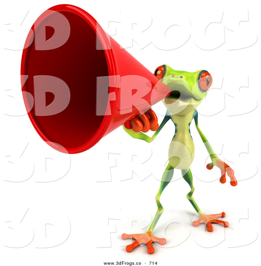 Royalty Free Speaking Trumpet Stock 3d Frog Designs.