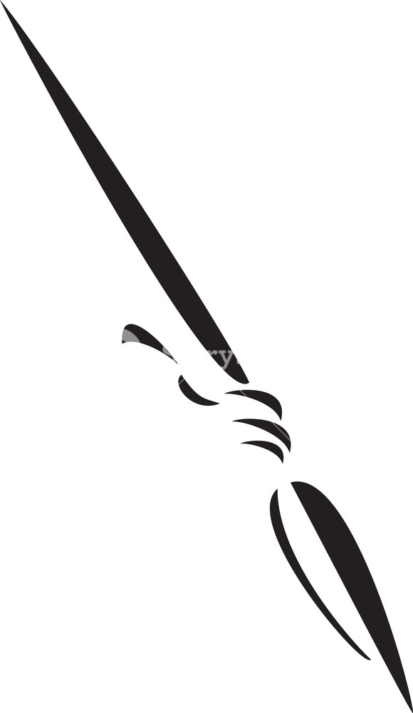 Black And White Illustration Of A Spear. Royalty.