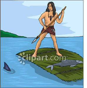 Man Spear Fishing.
