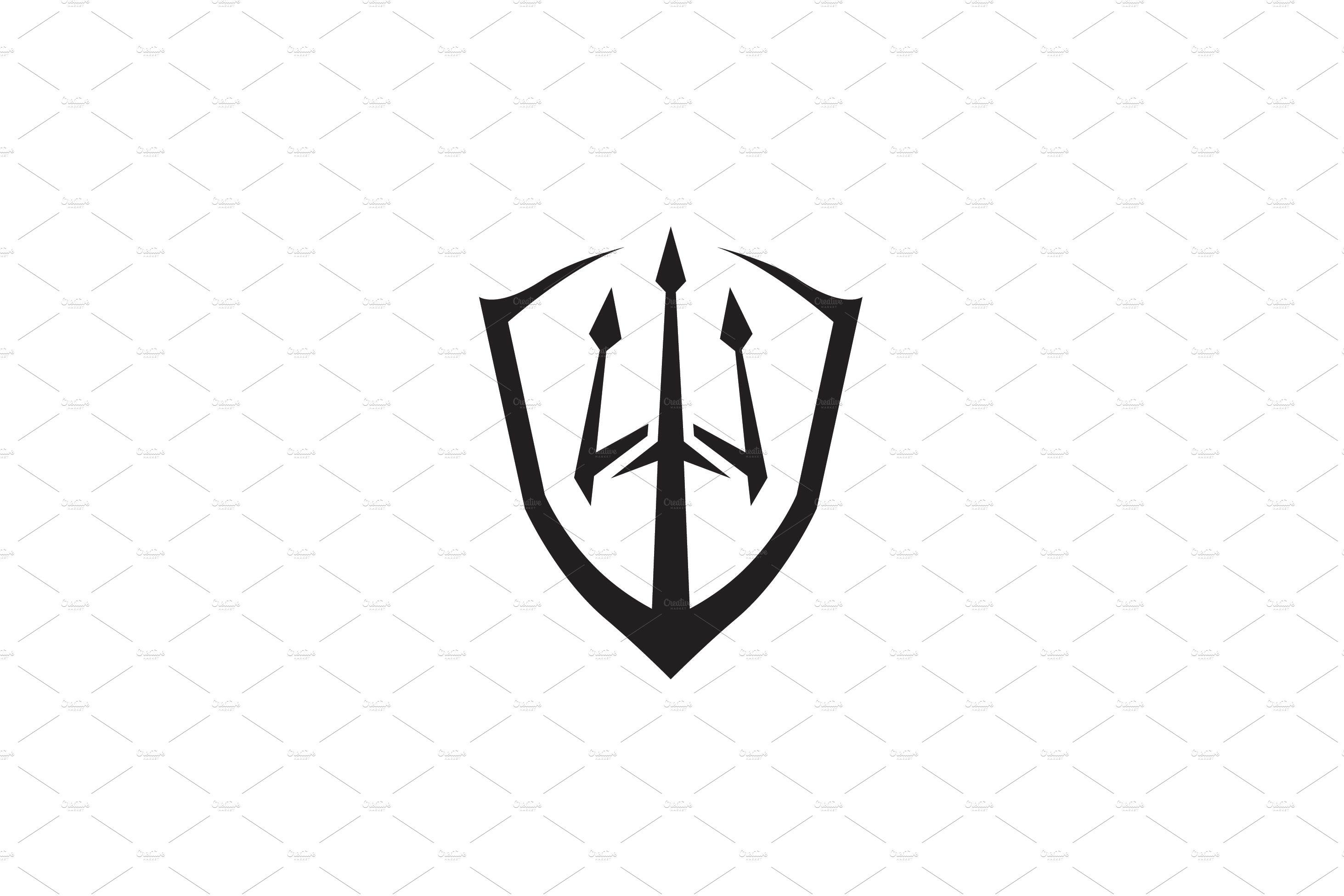 Trident spear shield logo design.