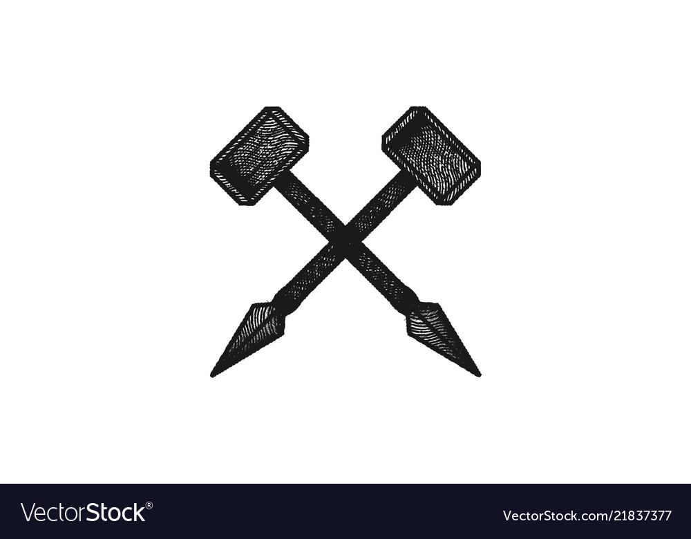 Spear hammer classic logo design inspiration.