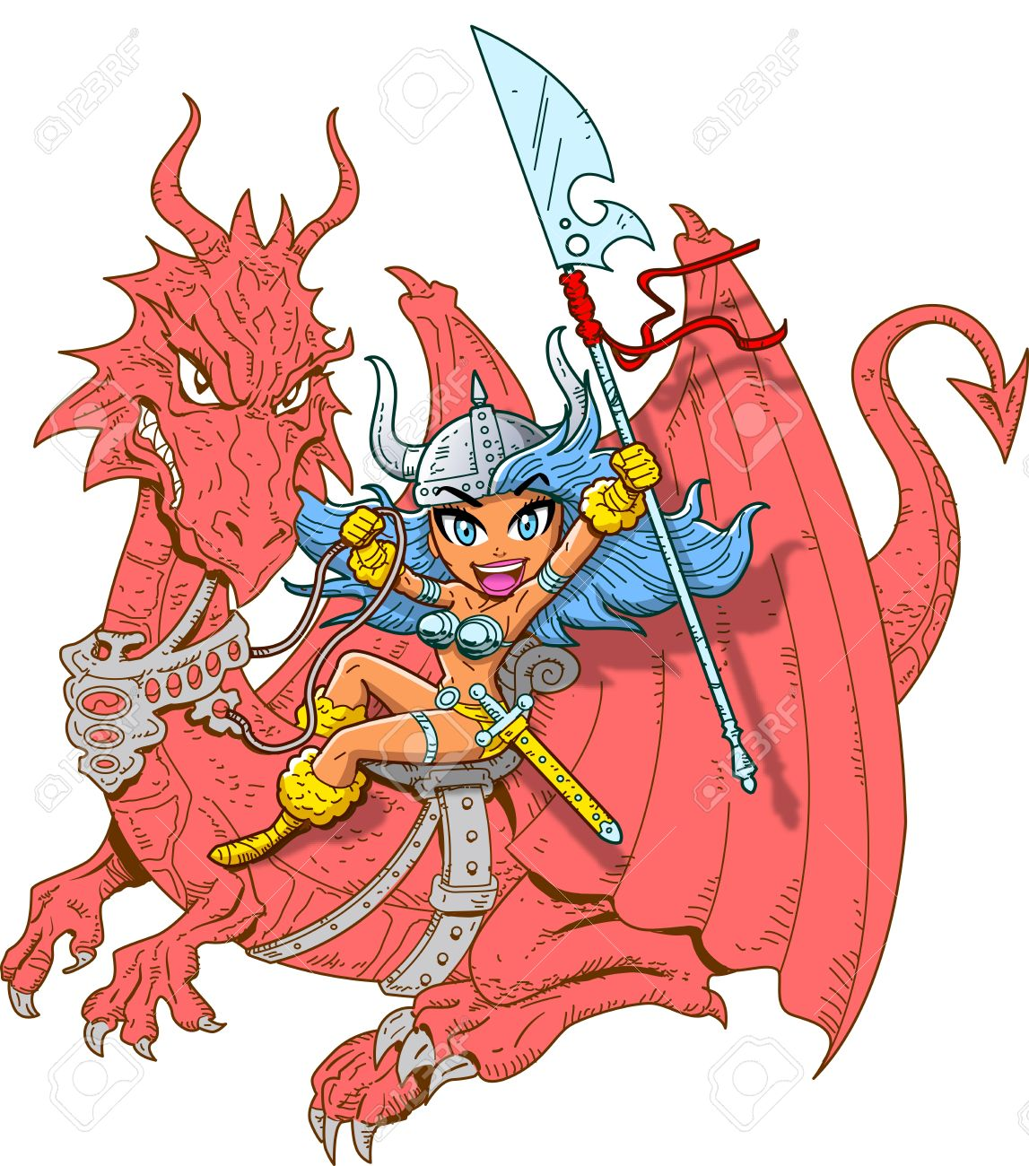Mythical Girl Dragon Rider With Sword And Spear Royalty Free.