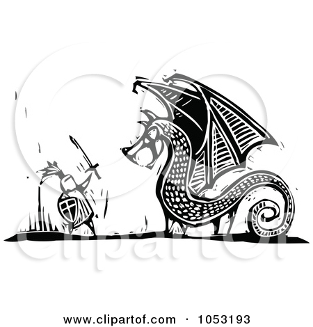 Clipart of a Knight Charging with a Spear Black and White Woodcut.