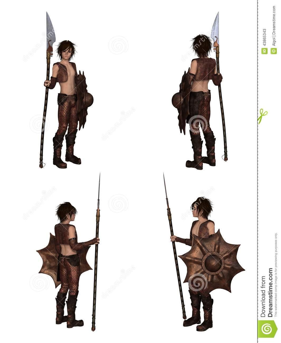 Dragon Warrior Boy Fantasy Character Set Stock Illustration.