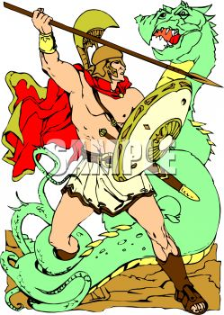 Royalty Free Clip Art Image: Knight Slaying a Dragon with a Spear.
