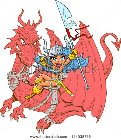Mythical Girl Dragon Rider With Sword And Spear Stock Vector.