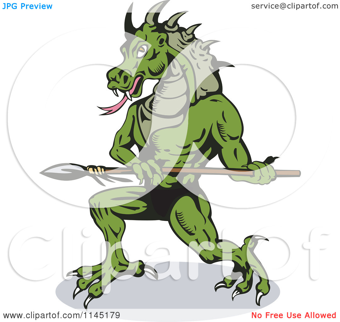 Clipart of a Dragon Villain Holding a Spear.