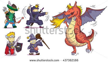 Mythical Girl Dragon Rider Sword Spear Stock Vector 144938755.