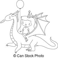 Vector of Girl Dragon Rider.