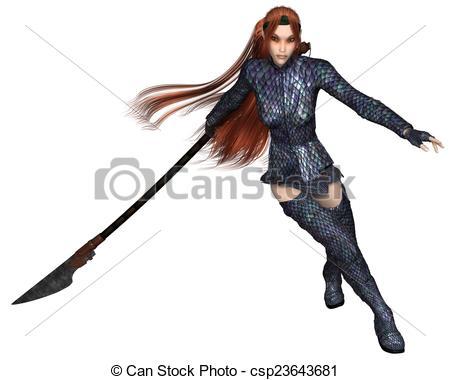 Stock Illustration of Female Elf Dragon Warrior, Fighting.