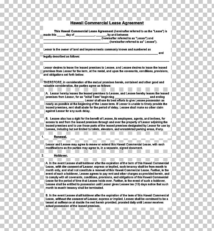 Document Lease Rental Agreement Contract Real Property PNG.