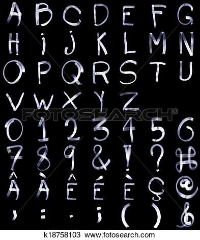Stock Photo of Light Painting Complete Alphabets with Special.