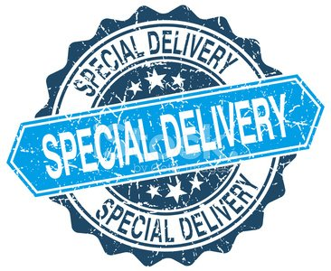 special delivery blue round grunge stamp on white Clipart.
